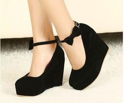 Women's Fashion Bow Tie Ankle Strap Shoes Classic Wedge Heel Platform Women Pump