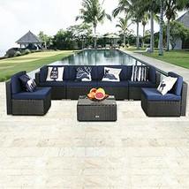eclife Outdoor Rattan Sofa 7 PCS Set Patio PE Wicker Black Sofa Couch Fu... - €750,17 EUR