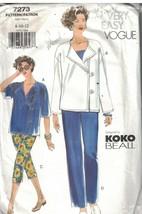 7273 sin Cortar Vogue Patrón de Costura Misses Suelto Ajuste Chaqueta Pa... - $6.88