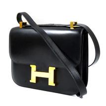 Hermes Constance 23 Shoulder Hand Bag Purse 2 Way Black Box Scarf Auth Rare 1994 - $9,098.00