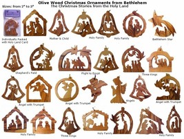 12 OliveWood Christmas Ornaments From Bethlehem ~ Christmas Story From H... - $26.50
