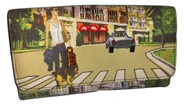 Colorful Wallet Canvas City Scene with jewels - $12.00