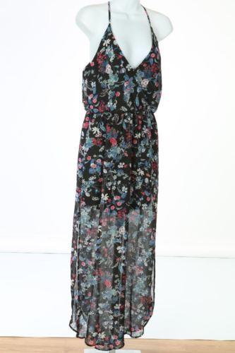 Lush Chorhemd Maxi Kleid Schwarz Rosa Geblümt Größe Mittelgroß M