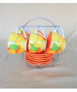 Awesome Opalina 6 cup & saucer set w/ chrome caddy in citrus fruit pattern - $45.00