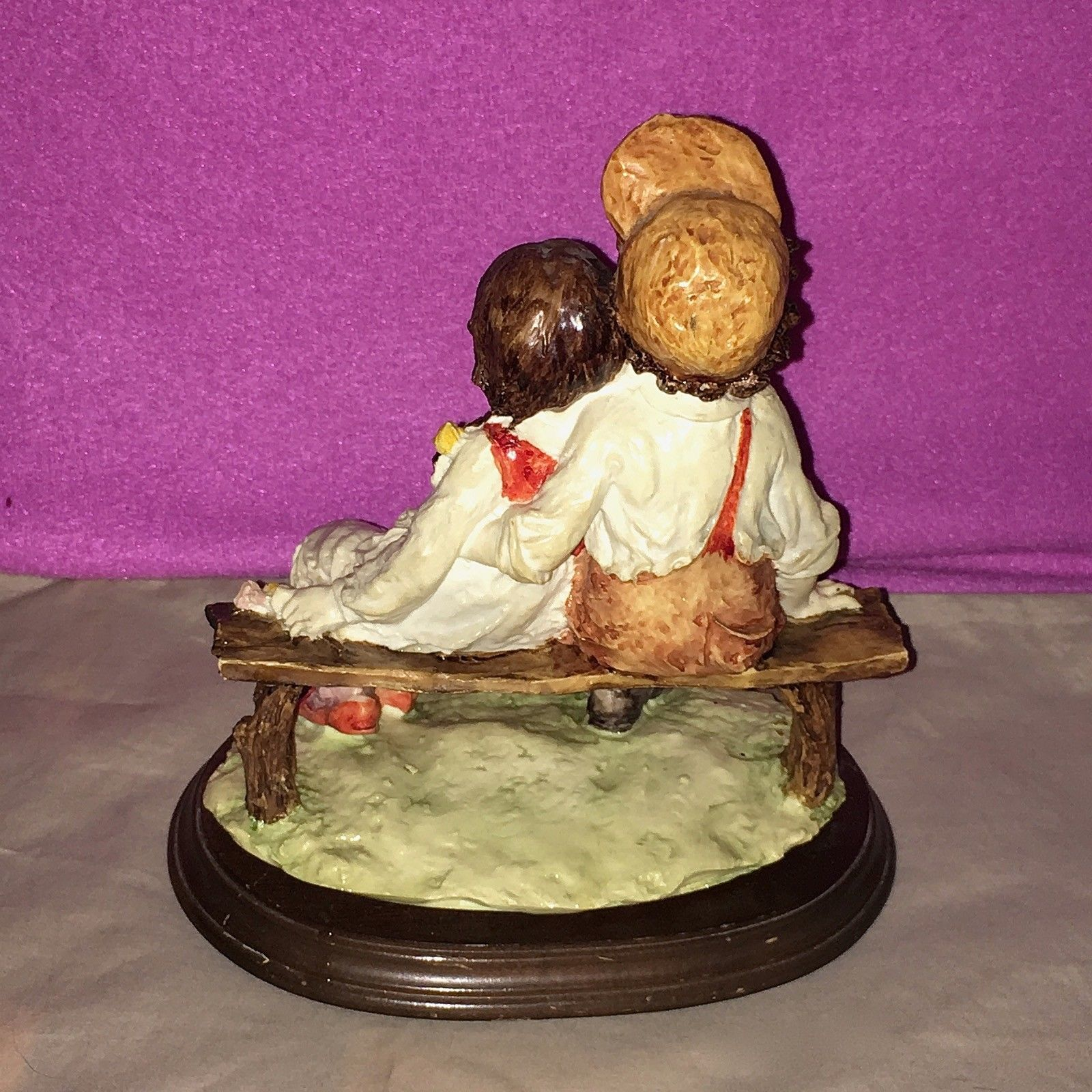 Vintage Capodimonte Boy and Girl Sitting on a Bench Wood Base Excellent Cond