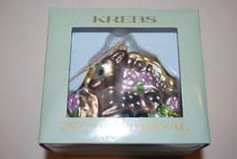 German Krebs Lauscha Glass Ornament Deer Fawn Germany New NIB Pink Flowers  - $9.95