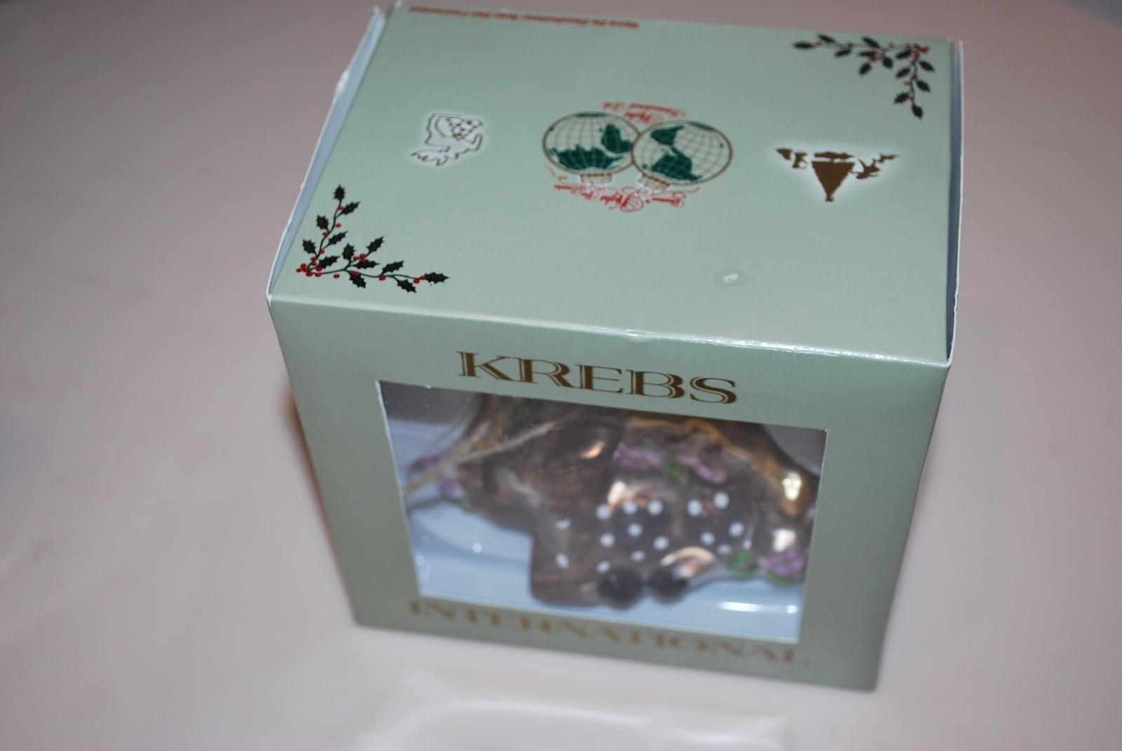 German Krebs Lauscha Glass Ornament Deer Fawn Germany New NIB Pink Flowers