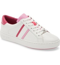 Michael Kors Women Lace Up Casual Sneakers Irving Stripe Lace Up Leather - $79.88