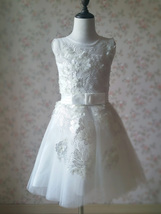 WHITE Lace Tutu High Waist Dress White Knee Length Wedding Flower Girl Dress NWT image 8