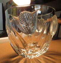 Crystal vase bowl made in France raised tulip flower decor Art Nouveau deco - $20.00