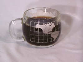 "NESTLE Gobal World glass coffee cup - approx. 3"" tall (NesCafe?) (2 logos) - $5.10"
