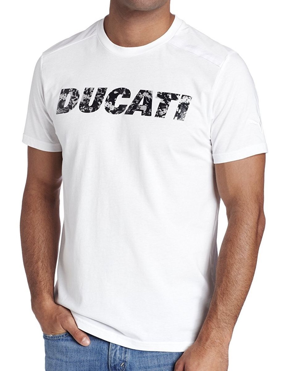 NEW NWT PUMA MEN'S PREMIUM AUTHENTIC DUCATI BIG LOGO F1 TEAM T-SHIRT TEE WHITE