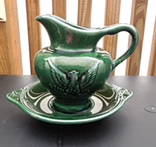 Vintage Hull Pitcher and Plate - Green Glazed Finish - Hull USA F92  #5916 - $12.49