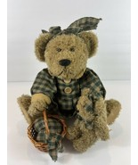 Rustic Country Primitive Stuffed Bear Green Checkered with Basket and Teddy - $14.03