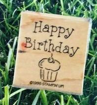 Stampin Up Rubber Stamp 1998 Happy Birthday Cupcake Celebrate  - $8.41