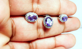 925 Sterling Silver Natural Amethyst And Cz Gemstone Handcrafted Design Women's  image 1