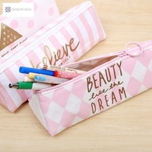 Kawaii Pencil Case leather pink white School Supplies Bts Stationery Gif... - $5.98