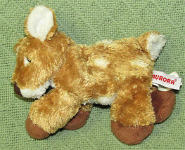 "AURORA WORLD MINI FLOPSIES 6"" DEER FAWN BEANBAG STUFFED ANIMAL PLUSH TAN... - $5.00"