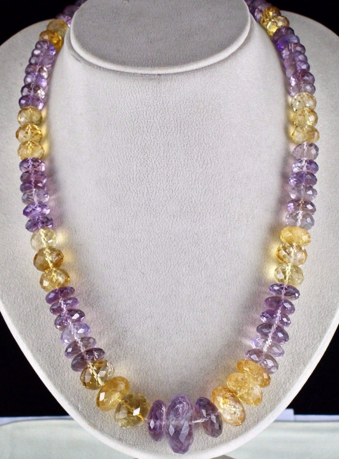 NATURAL CITRINE AMETHYST BEADS FACETED 1 LINE 875 CARATS GEMSTONE NECKLACE