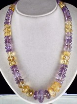 NATURAL CITRINE AMETHYST BEADS FACETED 1 LINE 875 CARATS GEMSTONE NECKLACE image 1