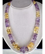 NATURAL CITRINE AMETHYST BEADS FACETED 1 LINE 875 CARATS GEMSTONE NECKLACE - $400.00