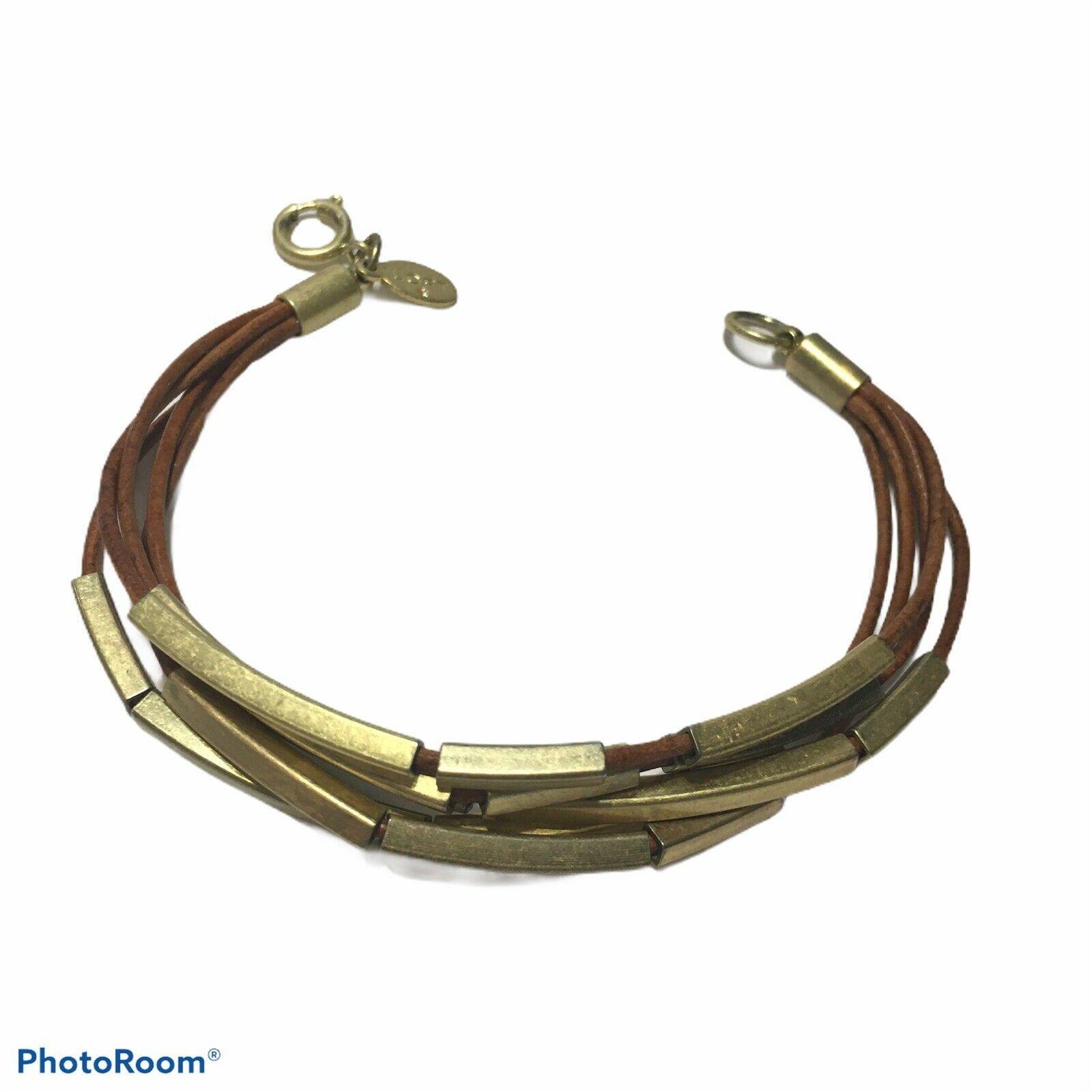 Ann Taylor Loft Brown Leather antiqued Gold boho multi strand bracelet lobster - $15.90