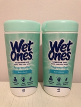 2X WET ONES Fragrance Free Hand & Face Wipes for Sensitive Skin 2 Packs ... - $19.99