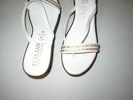 New Womens 10 Italian Shoemakers Crystals Wedge Sandals Platform Shoes White Brn image 6