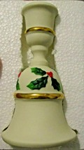 Bell Candle Holder Partylite P0143 in Bisque w/ Holly & Berries - $12.38