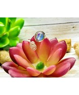 Aura Matte Moonstone Adjustable Silver Wire Wrap Ring Silver Ring Adjustable  - $15.99