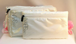 New NARS Skin Makeup Bags Set of 2 Ivory Cream Colored Pearlescent Metalic Tote - $15.99