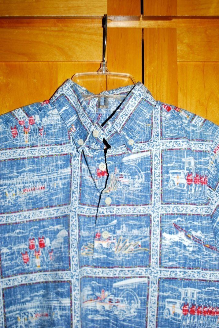 Reyn Spooner Kloth Boys Pullover Hawaiian Shirt Red Blue L 12 14 Boats Reverse