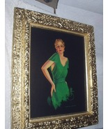 Devorss Pin Up Gal in Stunning Green Dress,Ornate Antique Gold Gesso Woo... - $155.00