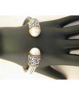 Designer Inspired Cable Bracelet With Faux Pearls - $45.00