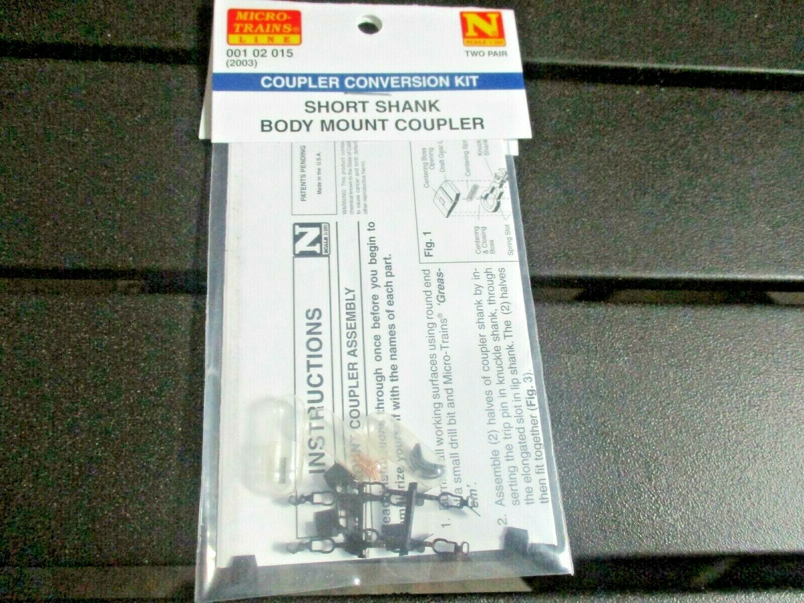 Micro-Trains Stock # 00102015 (Short Shank Body Mount Couplers 2 Pair N-Scale