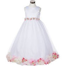 White Satin Bodice Floating Baby Pink Flower Petals Layer Tulle Skirt Girl Dress - $37.95+