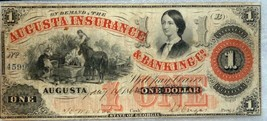 AUGUSTA INSURANCE & BANKING CO $1  1840s – 1862s - $197.01