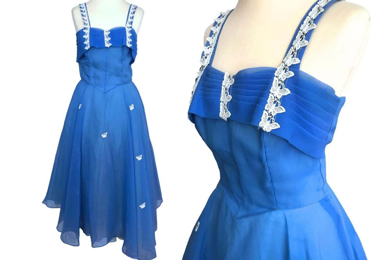 50s Vtg Cornflower Blue Lace Butterfly Rhinestone Trim Full Circle Swing Dress