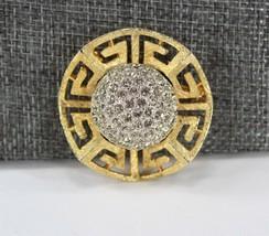 Vintage Brooch, Rhinestone Cluster Center, Gold Tone Cut Out Setting, Ledo  - $16.00