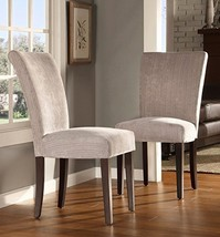 ModHaus Modern Light Gray Chenille Fabric Parsons Style Dining Side Chai... - $194.76