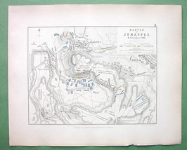 BELGIUM Jemappes & Environs & Battle of 1792 - 1848 Fine Quality Map - $12.82