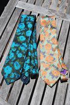 Jhane Barnes Silk Tie Lot Turqoise Aqua Orange Green Floral Flowers Shiny - $14.95
