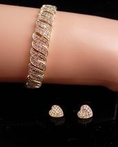 100 Diamonds - gold bracelet - 10kt gold heart earrings - sweetheart ann... - $225.00