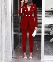 Women's Brand Designer Blue Velvet Embroidered Wear To Work Fashion Blazer Pant  image 6