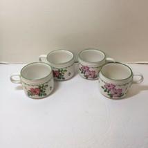 "4 Small Coffee Cups Studio Nova Garden Bloom 2.75"" tall Flowers - $19.34"