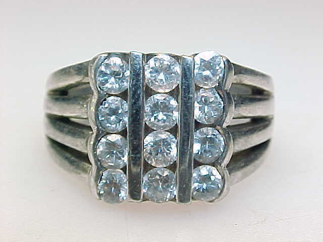 12 Stones CUBIC ZIRCONIA 3 Row CHANNEL VTG RING in STERLING SILVER - Size 7 3/4