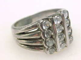 12 Stones CUBIC ZIRCONIA 3 Row CHANNEL VTG RING in STERLING SILVER - Size 7 3/4 image 2