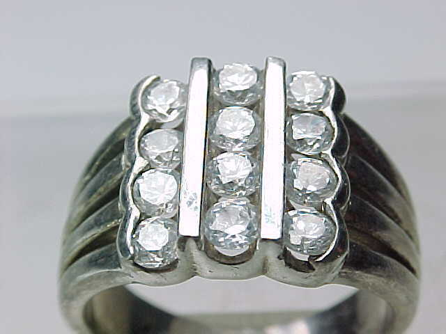 12 Stones CUBIC ZIRCONIA 3 Row CHANNEL VTG RING in STERLING SILVER - Size 7 3/4 image 3