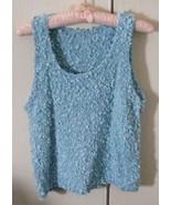 Hand knit pullover vest scoop neck nubbly yarn, spring  - $3.99