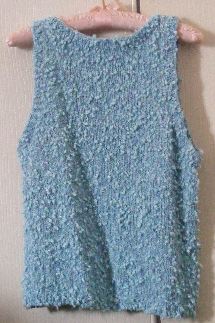 Hand knit pullover vest scoop neck nubbly yarn, spring